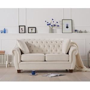 Mark Harris Furniture Liv Chesterfield Ivory Fabric 2 Seater Sofa