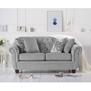 Mark Harris furniture Liv Chesterfield Grey Plush 2 Seater Sofa