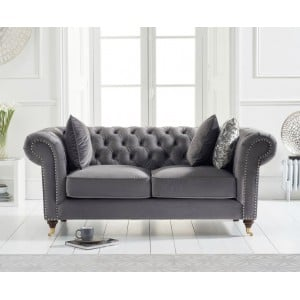 Mark Harris Camara Furniture Chesterfield Grey Velvet 2 Seater Sofa