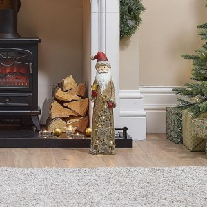 Santa 53cm Father Christmas with LED Gold Tree