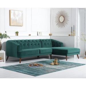 Mark Harris Destiny Green Velvet Right Hand Facing Corner Sofa