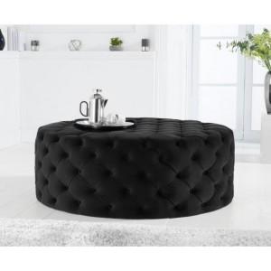 Mark Harris Montrose Black Velvet Large Round Footstool