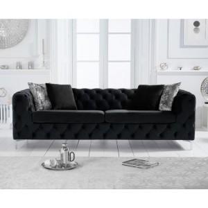 Mark Harris Alegra Black Velvet 3 Seater Sofa