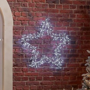 Acrylic 80cm Starburst Cool White Christmas Star