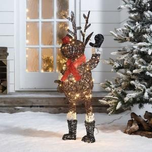 Rattan Brown Christmas Standing Rudolph Figure