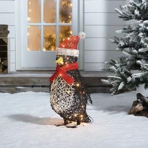 Rattan 60cm Battery Operated Christmas Penguin Figure