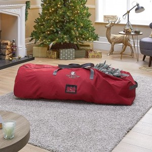 Red Fabric 6ft-7.5ft Artificial Christmas Tree Storage Bag With Wheels