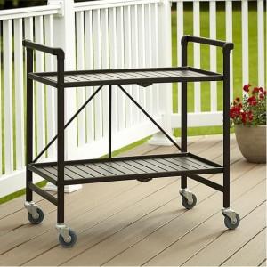 Cosco Outdoor Living Intellifit Sandy Brown Folding 2 Shelf Serving Cart