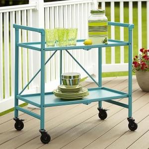 Cosco Outdoor Living Intellifit Teal Folding 2 Shelf Serving Cart