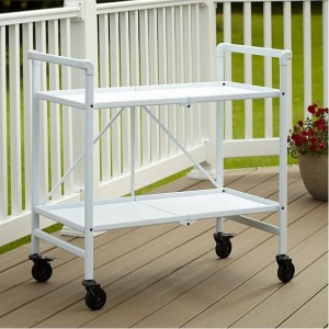 Cosco Outdoor Living Intellifit White Folding 2 Shelf Serving Cart