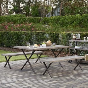Cosco Outdoor Living Farmstead Bench Patio Rectangular Dining Set