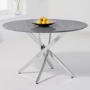 Mark Harris Clara Furniture Grey 120cm Marble Round Dining Table