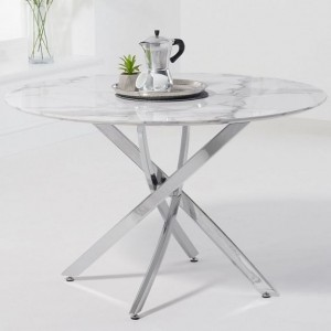 Mark Harris Clara Furniture White 120cm Marble Round Dining Table