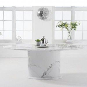 Mark Harris Cooper Furniture White 200cm Marble Oval Dining Table