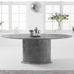 Mark Harris Cooper Furniture Grey 200cm Marble Oval Dining Table