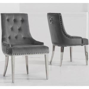 Mark Harris Toni Furniture Grey Velvet Dining Chair Pair
