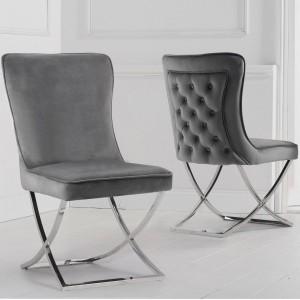 Mark Harris Gabriella Furniture Grey Velvet Dining Chair Pair