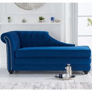 Mark Harris Laurn Furniture Blue Velvet Left Facing Chaise Sofa