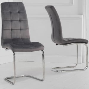 Mark Harris Lucy Furniture Grey Velvet Hooped Dining Chair Pair