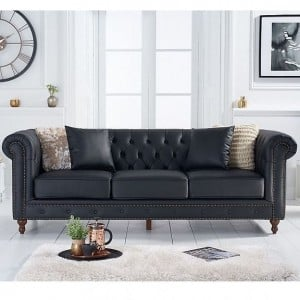 Mark Harris Montrose Furniture Black Leather 3 Seater Sofa