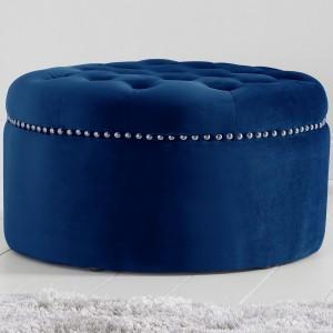 Mark Harris New England Furniture Blue Velvet Footstool