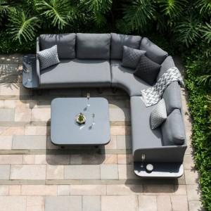 Maze Lounge Outdoor Fabric Cove Flanelle Corner Sofa Group