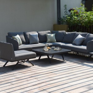 Maze Lounge Outdoor Fabric Cove Flanelle Large Corner Sofa Group
