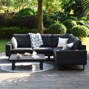 Maze Lounge Outdoor Fabric Ethos Charcoal Corner Group