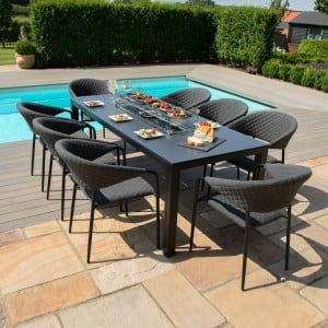 Maze Lounge Outdoor Fabric Pebble Charcoal 8 Seat Rectangular Fire Pit Dining Set  - PRE ORDER