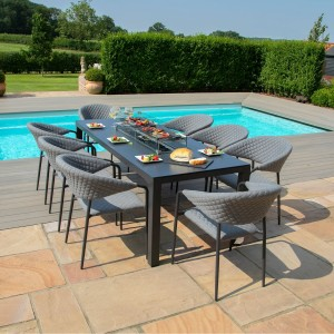 Maze Lounge Outdoor Fabric Pebble Flanelle 8 Seat Rectangular Fire Pit Dining Set - PRE ORDER