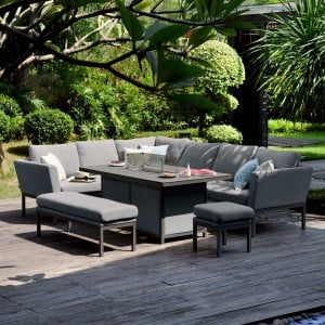 Maze Lounge Outdoor Fabric Pulse Rectangular Flanelle Corner Dining Set with Fire Pit