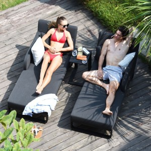 Maze Lounge Outdoor Fabric Unity Charcoal Sunlounger