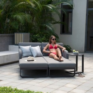 Maze Lounge Outdoor Fabric Unity Flanelle Sunlounger