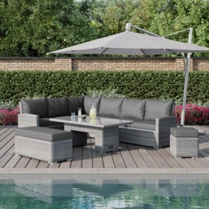Maze Rattan Garden Furniture Ascot Rectangular Corner Dining Set with Rising Table
