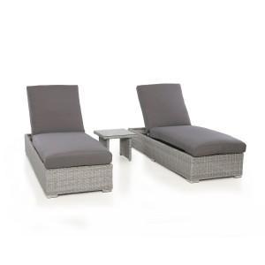 Maze Rattan Garden Furniture Ascot Sun Lounger Set With Weatherproof Cushions