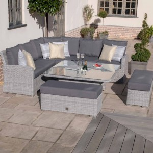 Maze Rattan Garden Furniture Ascot Deluxe Corner Dining Set with Rising Table & Ice Bucket