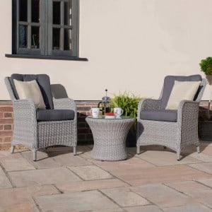 Maze Rattan Garden Furniture Ascot 2 Seat Bistro Set with Weatherproof Cushions