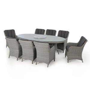 Maze Rattan Garden Furniture Ascot 8 Seat Oval Dining Set with Weatherproof Cushions