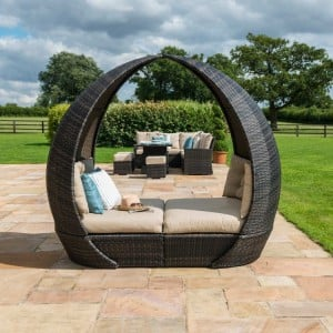 Maze Rattan Garden Furniture Brown Tulip Daybed