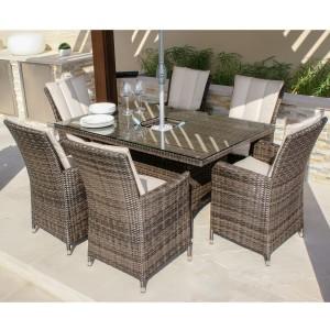 Maze Rattan Garden Furniture LA Brown 6 Seat Rectangular Ice Bucket Dining Set