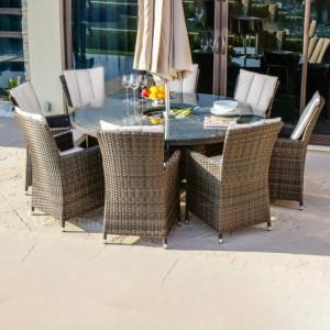 Maze Rattan Garden Furniture LA Brown 8 Seat Round Ice Bucket Table Set