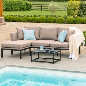 Maze Lounge Outdoor Fabric Pulse Chaise Sofa Set in Taupe