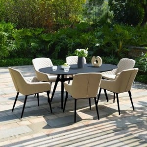 Maze Lounge Outdoor Fabric Zest 6 Seat Oval Dining Set in Taupe