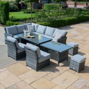 Maze Rattan Garden Furniture Kingston Grey Extending Corner Dining Set - PRE ORDER