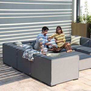 Maze Lounge Outdoor Fabric Apollo Flanelle Large Corner Group Sofa Set
