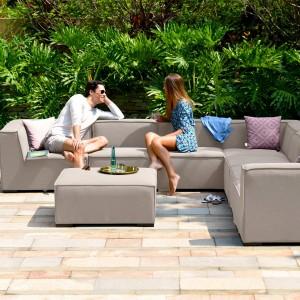 Maze Lounge Outdoor Fabric Apollo Taupe Large Corner Group Sofa Set