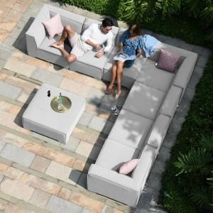 Maze Lounge Outdoor Fabric Apollo Lead Chine Large Corner Group Sofa Set