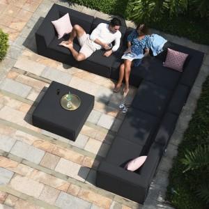 Maze Lounge Outdoor Fabric Apollo Charcoal Large Corner Group Sofa Set