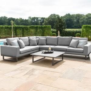 Maze Lounge Outdoor Fabric Ethos Flanelle Large Corner Group Sofa Set