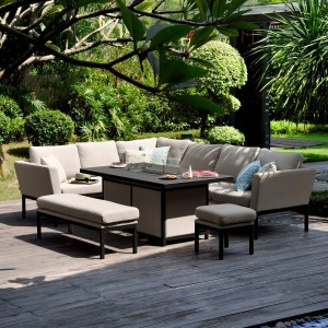 Maze Lounge Outdoor Fabric Pulse Taupe Rectangular Corner Dining Set with Fire Pit